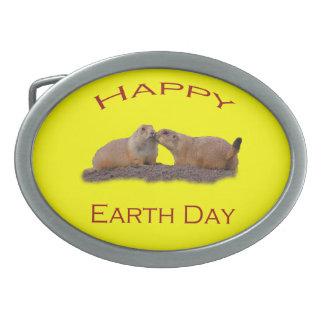 Happy Earth Day Oval Belt Buckle