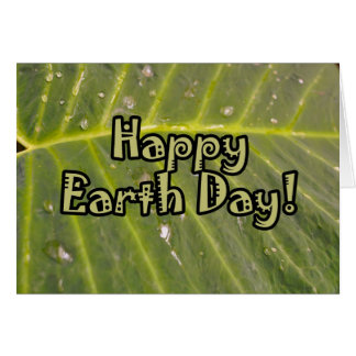 Happy Earth Day Tropical Leaf with Dew Drops Card