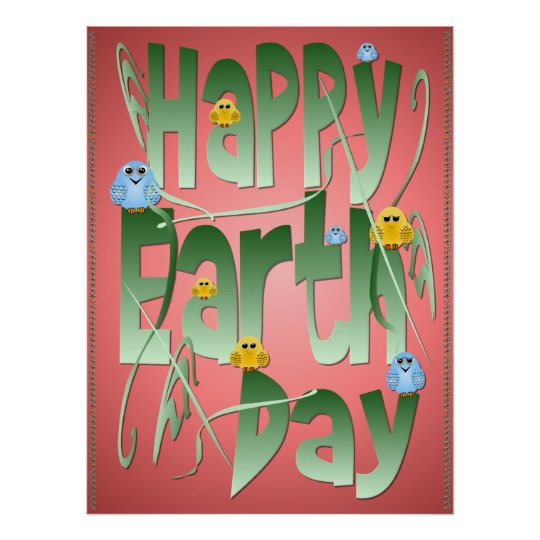 Happy Earth Day with Birds Print