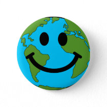Happy Earth Face Button