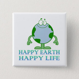 Happy Earth Happy Life Earth Day Button