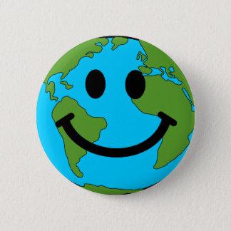Happy Earth Smiley Face Button