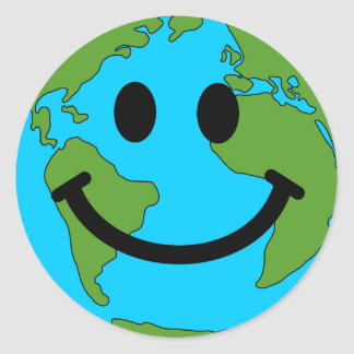 Happy Earth Smiley Face Classic Round Sticker