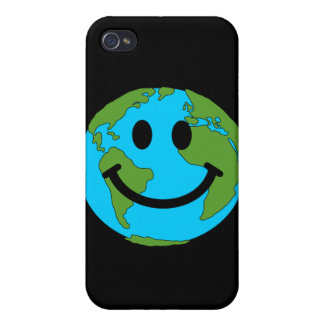 Happy Earth Smiley Face iPhone 4 Cases