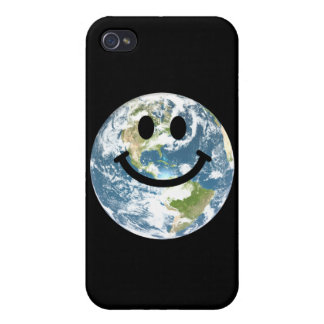 Happy Earth smiley face Case For iPhone 4