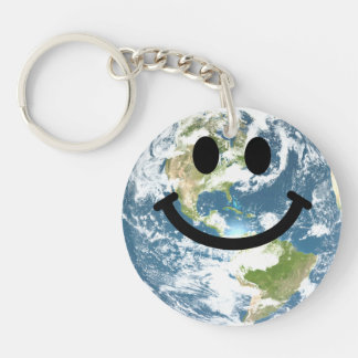 Happy Earth smiley face Keychain