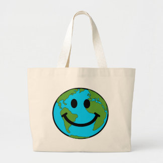 Happy Earth Smiley Face Large Tote Bag