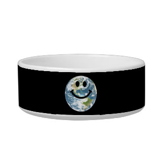 Happy Earth smiley face Cat Water Bowl