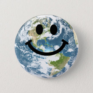 Happy Earth smiley face Pinback Button