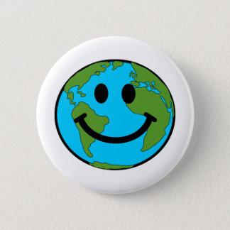 Happy Earth Smiley Face Pinback Button