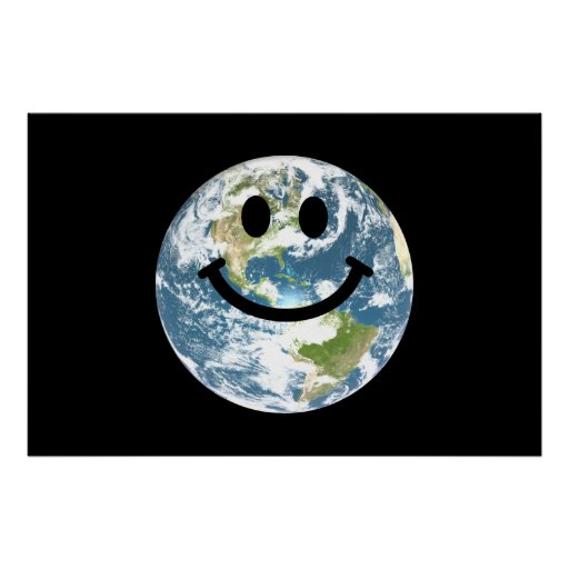 Happy Earth smiley face Posters