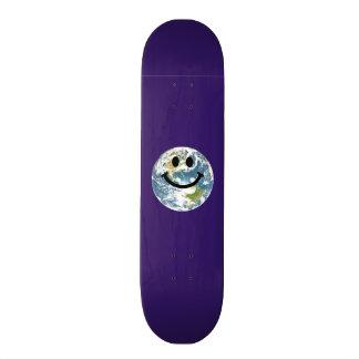 Happy Earth smiley face Custom Skate Board