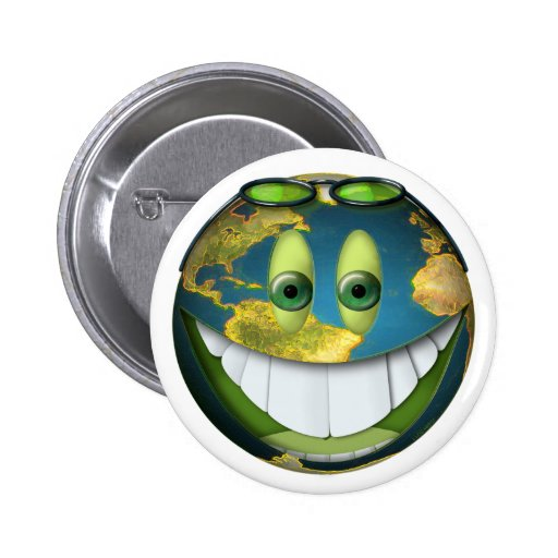 Happy Earth Smilie Pin