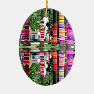 HAPPY EARTHDAY Decorated TREE line - GIFTS all Double-Sided Oval Ceramic Christmas Ornament