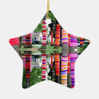 HAPPY EARTHDAY Decorated TREE line - GIFTS all Double-Sided Star Ceramic Christmas Ornament