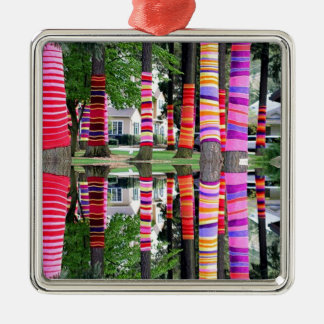 HAPPY EARTHDAY Decorated TREE line - GIFTS all Square Metal Christmas Ornament