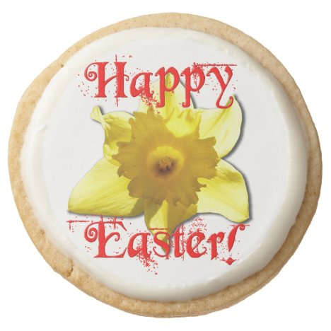 Happy Easter, 02.3.T Daffodils Round Shortbread Cookie