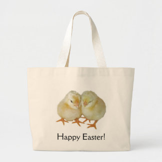Happy Easter - 2 Cute Yellow Basque Chicks Tote Bags