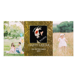 Happy Easter 2 Photos   Christian He Is Risen Card