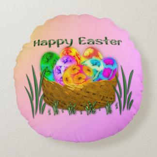 Happy Easter #2 Round Pillow