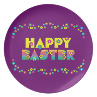 Happy Easter and Flowers Plates