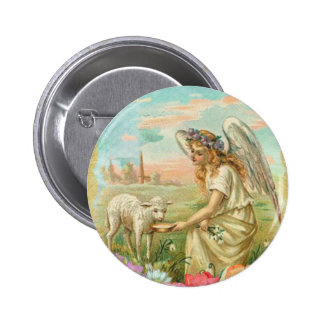 happy easter angel pinback button