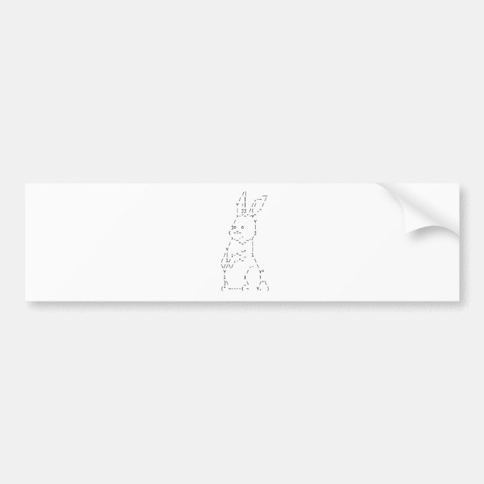 Happy Easter ASCII Bunny Art Bumper Sticker