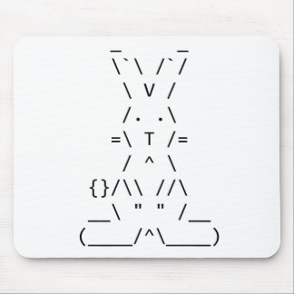 Happy Easter ASCII Bunny Art Mouse Pad