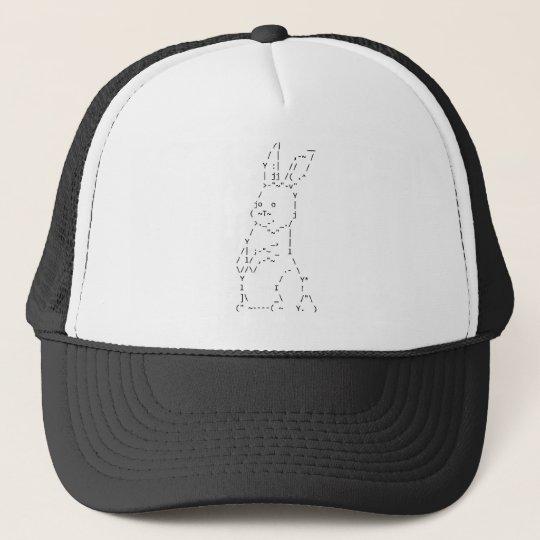 Happy Easter ASCII Bunny Art Trucker Hat