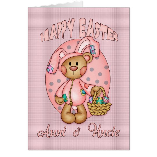 Happy Easter - Aunt & Uncle - Cute Teddy Bear In B Card