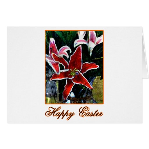 Happy Easter b Orange Tiger Lily The MUSEUM Zazzle Greeting Card