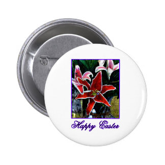 Happy Easter b Purple Tiger Lily The MUSEUM Zazzle Pinback Buttons