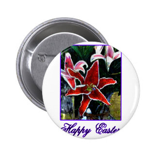Happy Easter b Purple Tiger Lily The MUSEUM Zazzle Pin