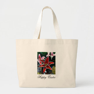 Happy Easter b White Tiger Lily The MUSEUM Zazzle Tote Bags
