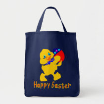 ♫♥Happy-Easter Baby-Chick Grocery Tote Bag♥♪