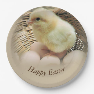 Happy Easter Baby Chick in a Basket Paper Plate