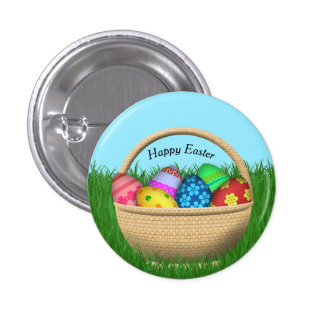 Happy Easter Basket Button