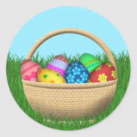 Happy Easter Basket Classic Round Sticker