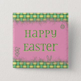 Happy Easter Basket Weave Button