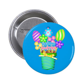 Happy Easter Basket with colored eggs Button