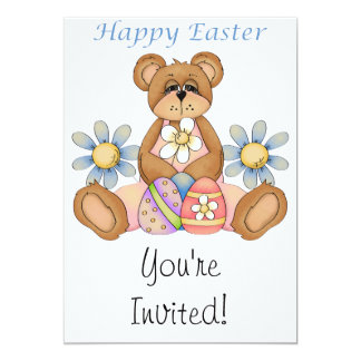 Happy Easter Bear with eggs Invitations