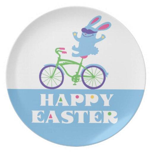 Happy Easter Biker Bunny - melamine plate