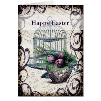 Happy Easter- Birdcage and Eggs Card