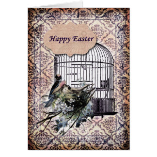 Happy Easter-Birds and Birdcage Card