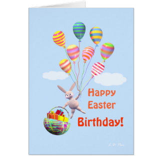 Happy Easter Birthday Bunny and Balloons Card