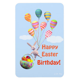 Happy Easter Birthday Bunny and Balloons Magnet