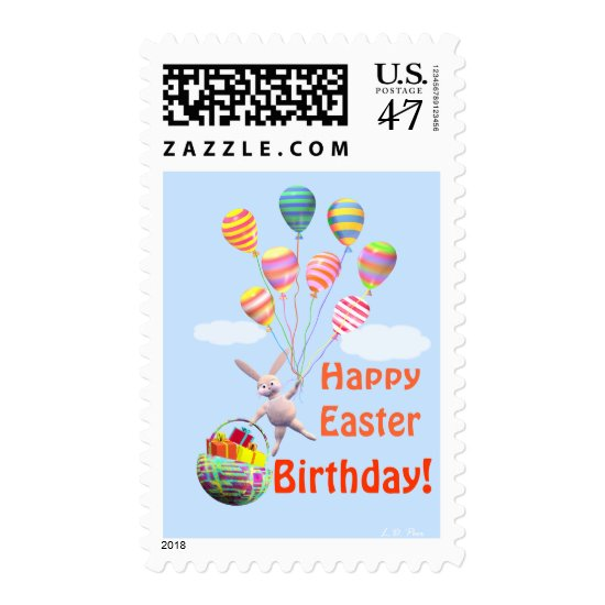 Happy Easter Birthday Bunny and Balloons Postage