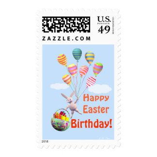 Happy Easter Birthday Bunny and Balloons Stamp