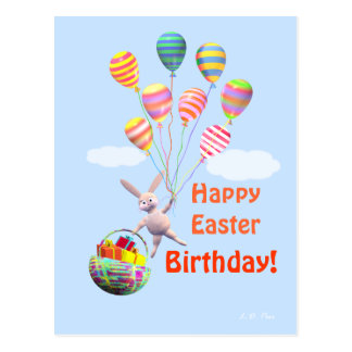 Happy Easter Birthday Bunny and Balloons Postcard