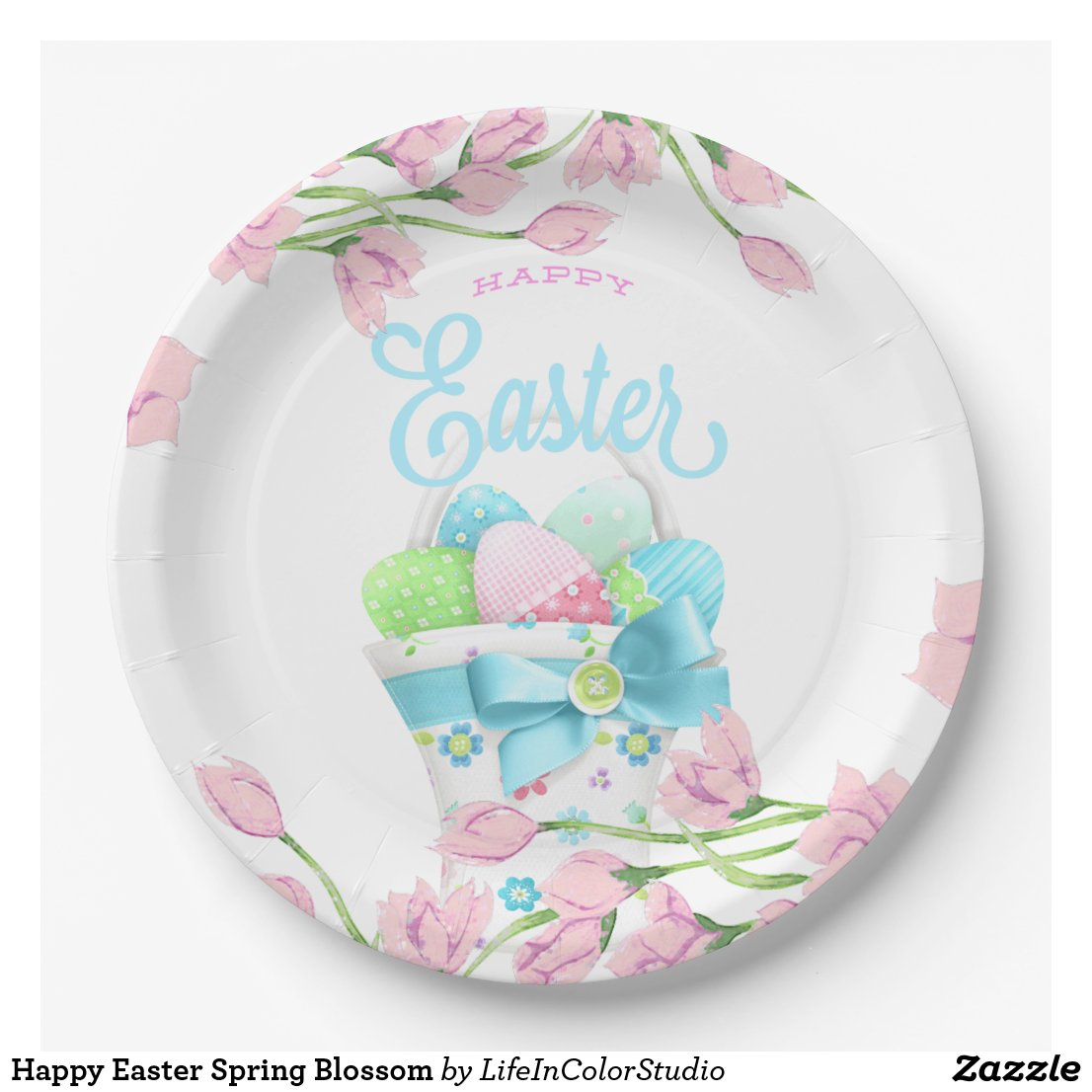 Happy Easter Blooms Paper Plate